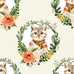 """8"""" Miss Kitty Floral Wreath Yellow Polka Dots"""