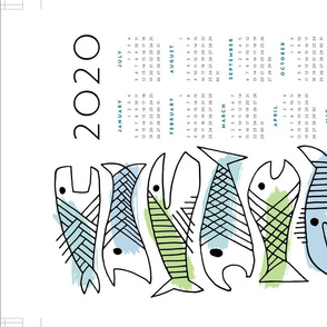 fish calendar towel