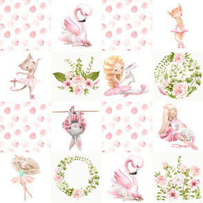 """18"""" Ballett Dance - Little Ballerinas and Cute Animals Patchwork on white"""