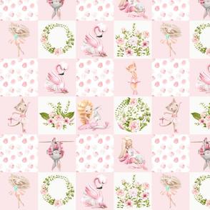 small Ballett Dance - Little Ballerinas and Cute Animals Patchwork - baby girls quilt cheater quilt fabric - spring animals flower fabric, baby fabric, cheater quilt fabric