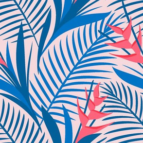 Tropical Flowers Blue&Pink