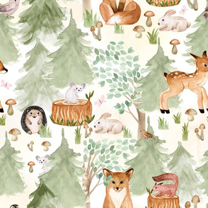"18"" Woodland Adventure Awaits - Deer Fox Hedgehog Mice and Bunny - Woodland fabric, woodland animals fabric white"