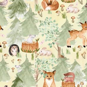 "18"" Woodland Adventure Awaits - Deer Fox Hedgehog Mice and Bunny - Woodland fabric, woodland animals fabric dark"