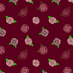 abstract roses on deep red