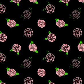 abstract roses on black