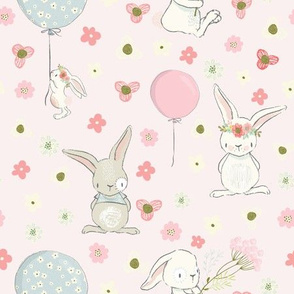 """9 """" Spring is in the air- Little Bunnies and Cute Florals - baby girls fabric - spring animals flower fabric, baby fabric"""