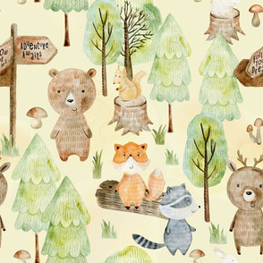 "18"" Woodland Adventure Awaits - Deer Bear Fox Raccoon - Woodland fabric, woodland animals fabric dark"