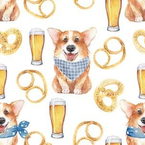 """6""""cute welsh cardigan corgi celebrating oktoberfest with beer and pretzel adorable painted corgis design corgi lovers will adore this lovely fabric"""