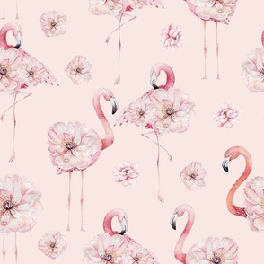 Watercolor Hand drawn Flower Flamingos
