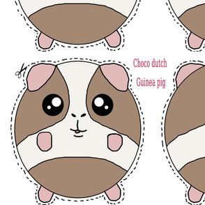 chocolate dutch guinea pig plush pillow