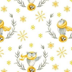"7"" Little Owl Birds Wreaths In Winter Forest - white"