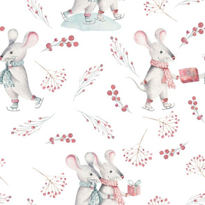 """9"""" Winter Fun with little Mice - Hand drawn watercolor woodland pattern  2"""