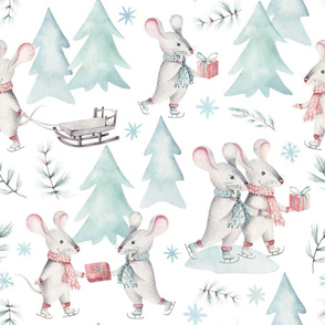 "9"" Winter Fun with little Mice - Hand drawn watercolor woodland pattern  1"