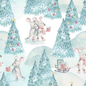 "9"" Winter Fun with little Mice - Hand drawn watercolor woodland pattern"
