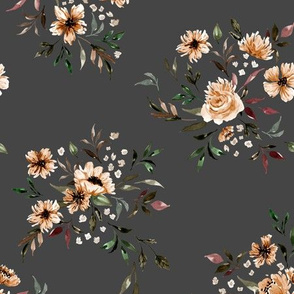 Emila Watercolor Floral V3 - Gray