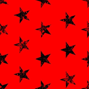 distressed black stars on red