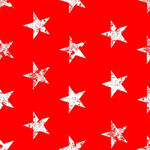 distressed white stars on red