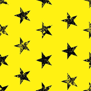 distressed black stars on yellow