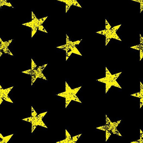 distressed yellow stars on black