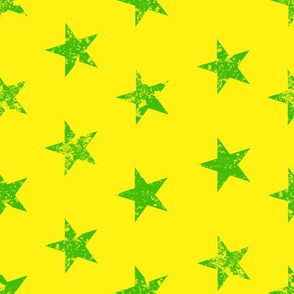 distressed green stars on yellow