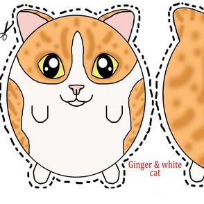 ginger & white cat plush pillow