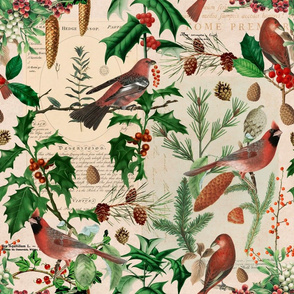 Cardinal Vintage Botanical Christmas Pattern