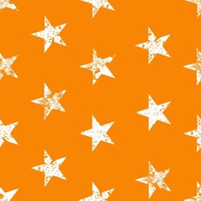 distressed white stars on orange