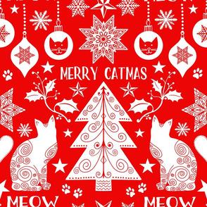 Merry Catmas Scandinavian Folk Art