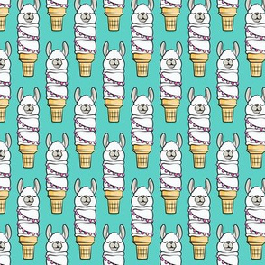 (small scale) llama ice cream cake cones - stacked teal - LAD19BS