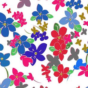 Floral Fantasy (Multicolor on White) 20inch repeat