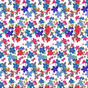 Floral Fantasy (Multicolor on White) 2inch repeat