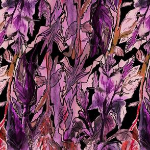 Vivid colour floral fantasy - expressive hand drawing