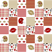 "49ers 3"" squares quilt patchwork fabric, cheater quilt, football, american football"