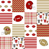 "49ers 6"" squares quilt patchwork fabric, cheater quilt, football, american football"