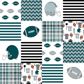 """eagles quilt fabric 6"""" squares - american football, football fan, sports, sports teams - eagles"""