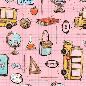 Back to school Bus pink
