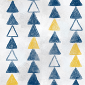 Hand drawn navy and gold triangles