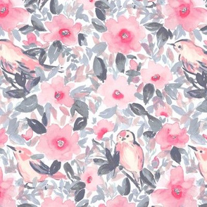 birds and flowers grey and pink