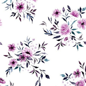 Emila Watercolor Floral V4 - White