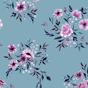 Emila Watercolor Floral V4 - Blue