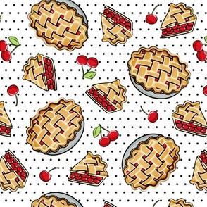 Sweet Cherry Pie - black polka dots - cherries - pie - foodie - LAD19