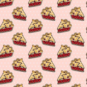 Sweet Cherry Pie - pie slice - pink polka dots - foodie - LAD19
