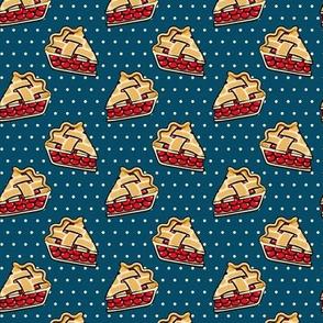 Sweet Cherry Pie - pie slice - blue polka dots - foodie - LAD19
