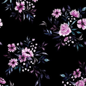 Emila Watercolor Floral V4 - Black