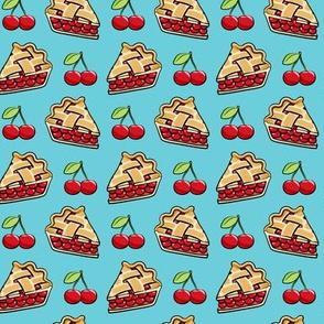 Sweet Cherry Pie - cherries & pie slice - blue - foodie - LAD19