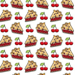 Sweet Cherry Pie - cherries & pie slice - white - foodie - LAD19