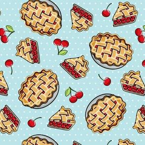 Sweet Cherry Pie - light blue polka dots - cherries - pie - foodie - LAD19