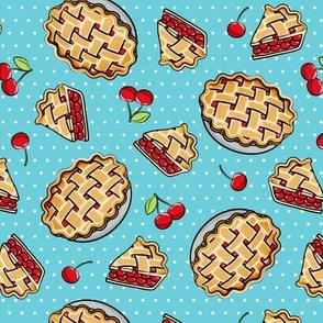 Sweet Cherry Pie - blue polka dots - cherries - pie - foodie - LAD19