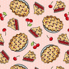 Sweet Cherry Pie - Pink polka dots - cherries - pie - foodie - LAD19