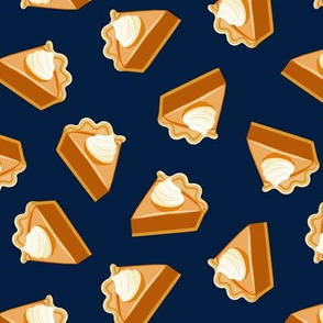 Pumpkin Pie Slice - fall dessert - thanksgiving - dark blue - LAD19